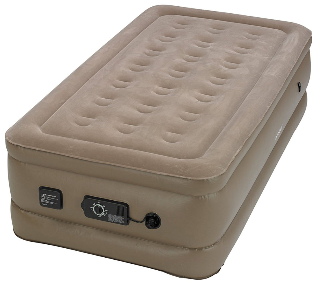 the instabed raised is a 18inch twin mattress features two patented neverflat pumps to ensure that your airbed is constantly inflated